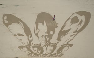 Giant sand artwork at Watergate Bay beach, Newquay
