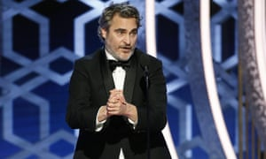 Joaquin Phoenix accepting the award for best actor for his titular role in the film Joker