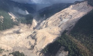 Areas affected by landslides are seen after a powerful 7.5 magnitude earthquake, in Hela