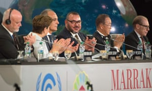 President of the UN general assembly, Peter Thomson; UN climate chief Patricia Espinosa; Morocco's foreign minister and COP22 president, Salaheddine Mezouar; Morocco's King Mohammed VI; and UN secretary-general Ban Ki-moon at the COP22 climate change conference in Marrakesh