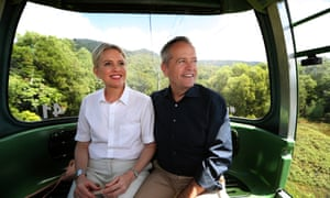 Bill Shorten and his wife Chloe in Cairns on Monday.