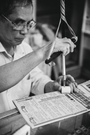 Mr Cheung, who has been making and selling mahjong tiles for more than 40 years