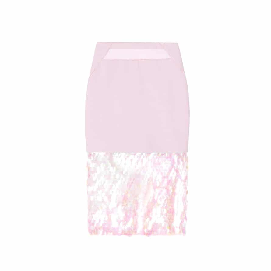 Sugar pink and shine. Pink skirt, £95, threefloorfashion.