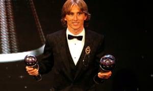 Own goal? Luka Modric at the Best Fifa Football Awards.