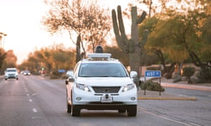 A self-driving car in Phoenix, Arizona. Good weather and safe roads make it an ideal testing ground.
