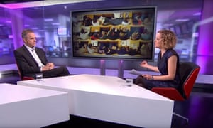 Cathy Newman interviewing Jordan Peterson on Channel 4 in January.