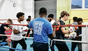 Young people train in the ring