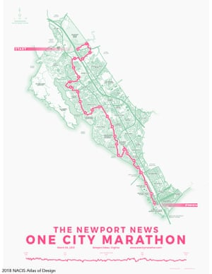 Jonah Adkin's map of The One City Marathon, an annual running event in the City of Newport News, Virginia.