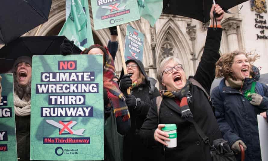 Campaigners outside the Royal Courts of Justice after Heathrow's expansion plans were stopped.