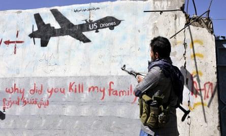 Graffiti in Sanaa, Yemen, protesting against US drone strikes.