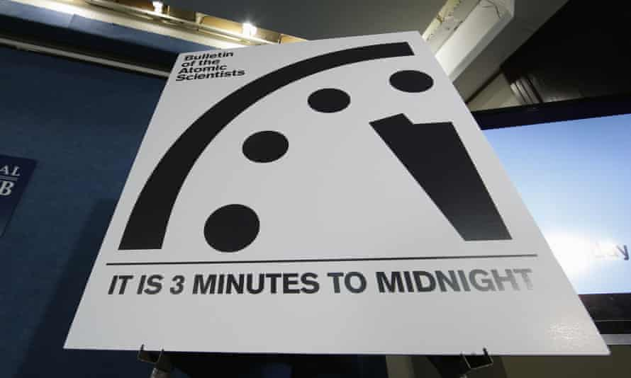 Doomsday Clock three minutes midnight nuclear war climate change