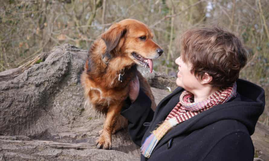 Clare Allan with her dog, Meg