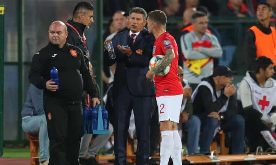 Trippier talks to the Bulgaria manager Krasimir Balakov during England's game in Sofia last month