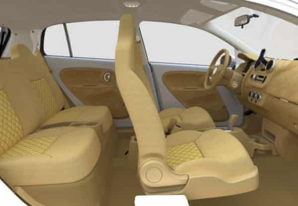 The interior of the V-Vehicle used fibrewood extensively