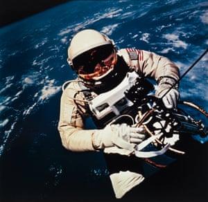 Ed White performing the first American spacewalk, Gemini IV 1965