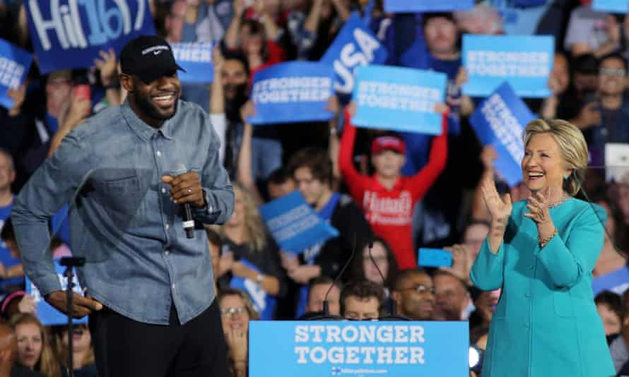 LeBron James introduces Hillary Clinton during a campaign rally in Cleveland, Ohio.