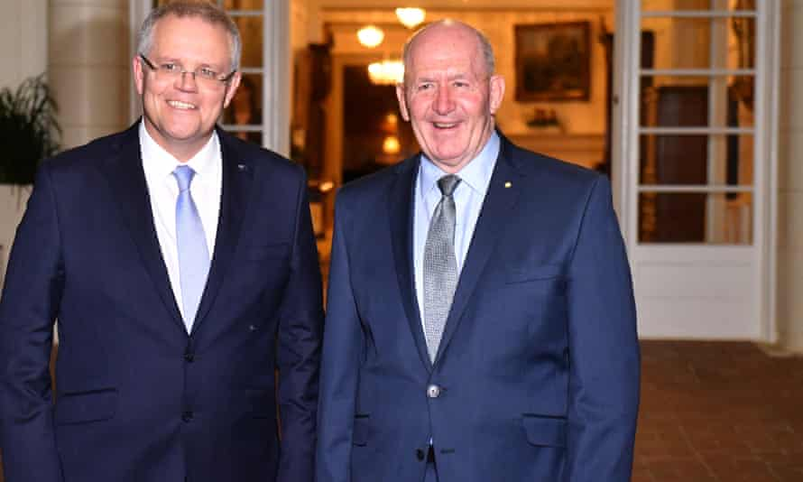 Scott Morrison with the governor general Sir Peter Cosgrove after a swearing-in ceremony at Government House