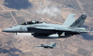 Two RAAF F/A-18F Super Hornets flying over Iraq. Australia has suspended anti-Isis operations over Syria after the shooting down of a Syrian jet by the US.