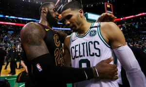 db7f620c6124d LeBron James embraces Boston Celtics forward Jayson Tatum after the  Cleveland Cavaliers beat the Boston Celtics