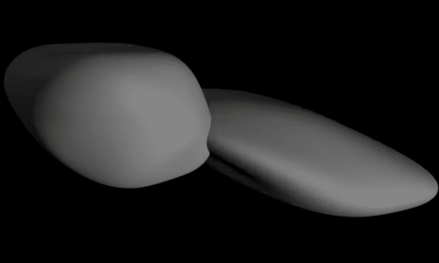 A still from a Nasa animation that depicts a shape model of Ultima Thule created by the New Horizons science team based on its analysis of all the pre-flyby images sent to Earth so far.
