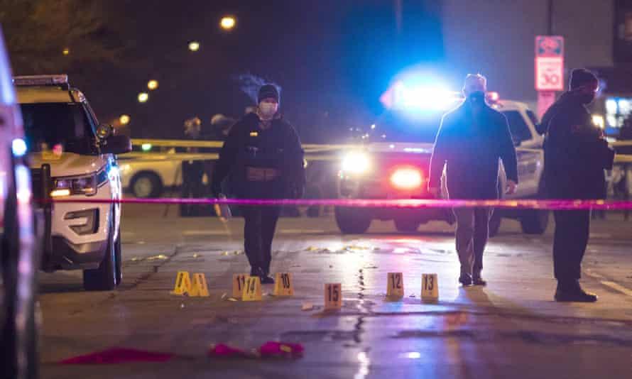 Chicago and Evanston police investigate a crime scene on Saturday night.