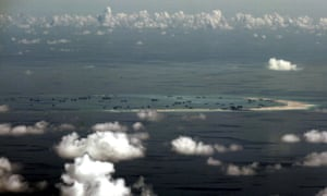 An aerial photo shows the on-going land reclamation by China on mischief reef in the Spratly Islands in the South China Sea.