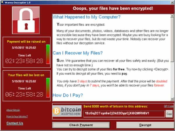 A WannaCry ransomware demand.