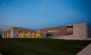 Exterior of the two Mississippi museums at night. Jackson, Mississippi, US.