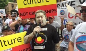 Trevor Walker addresses a Save Yarra Bay protest.