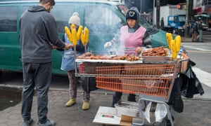 Roasted corn street vendors, Elmhurst.