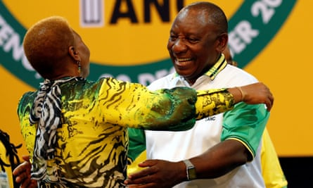 Cyril Ramaphosa greets an ANC member during the party conference in Johannesburg on Monday.
