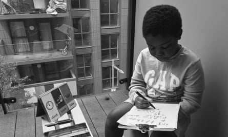 A child studies at home.