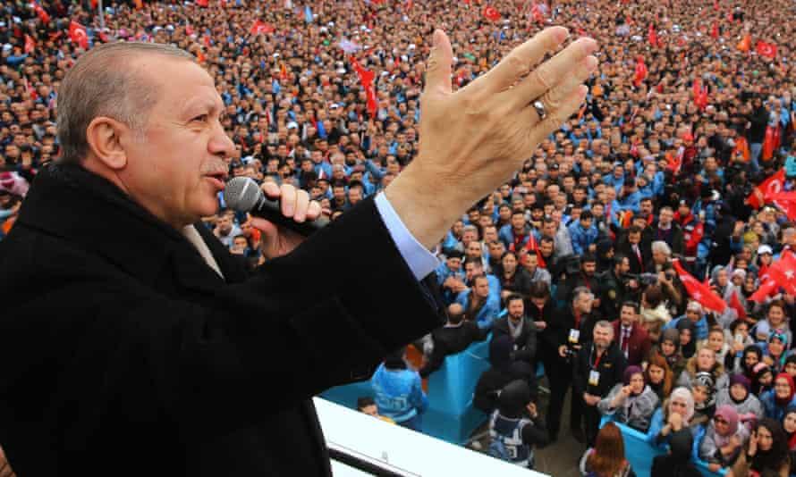 Recep Tayyip Erdoğan addresses a political rally in Bursa, Turkey