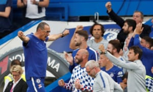 Maurizio Sarri celebrates Chelsea's winning goal, scored by Marcos Alonso.