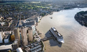 The new cruise ship terminal is planned for the Enderby Wharf in Greenwich, London