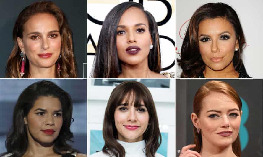 Clockwise from left: Natalie Portman, Kerry Washington, Eva Longoria, Emma Stone, Rashida Jones and America Ferrera, all of whom have signed the letter on countering sexual harassment.