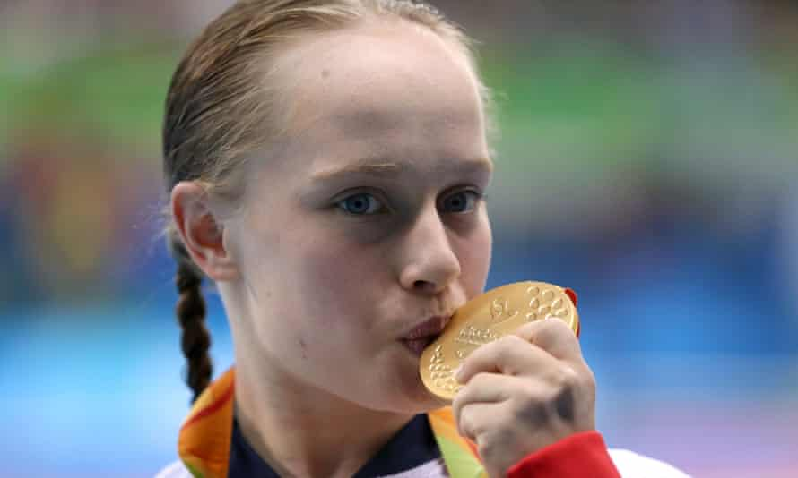 Ellie Robinson during the medal ceremony for the women's 50m butterfly S6 in Rio.