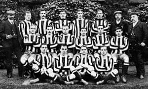 The Newcastle United football team, circa 1905, with Bill McCracken on the far right of the middle row.