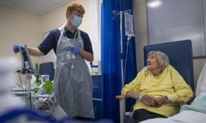 A rehabilitation support worker talks with patient Shirley Hughes at the NHS Seacole Centre in Surrey.