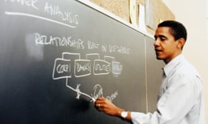 Obama teaching at the University of Chicago Law School.