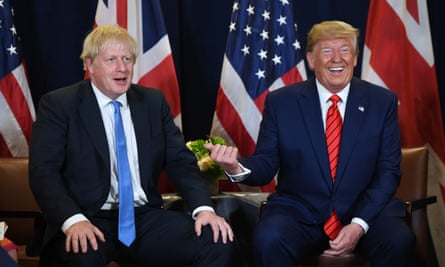 Boris Johnson with Donald Trump at the UN headquarters in New York.