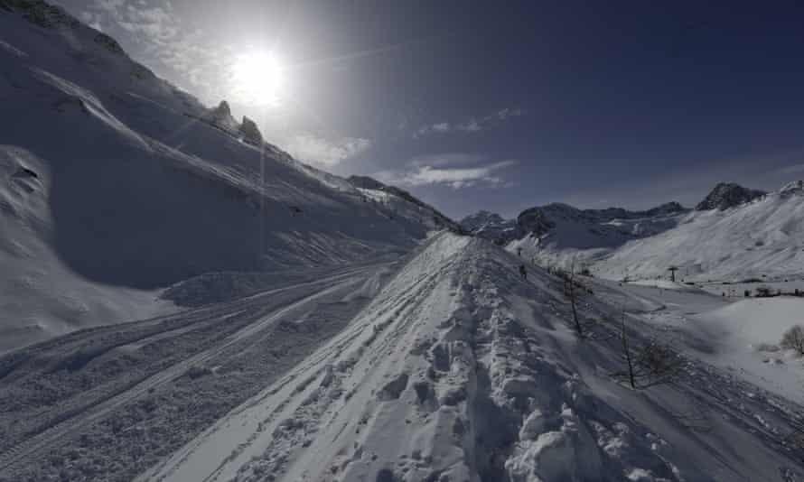 Tignes ski resort. The avalanche swept across the Val Claret area near the Tichot ski lift.