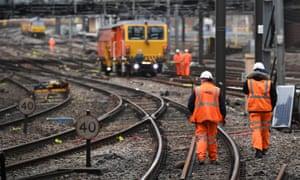 Rail staff working on tracks