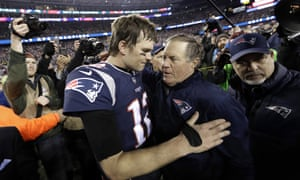 New England Patriots quarterback Tom Brady, left, hugs coach Bill Belichick after the AFC championship NFL football game against the Jacksonville Jaguars, in Foxborough, Mass. Brady is an NFL free agent for the first time in his career. The 42-year-old quarterback with six Super Bowl rings said Tuesday morning, March 17, 2020, that he is leaving the New England Patriots. (AP Photo/David J. Phillip, File)