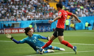 Guillermo Ochoa of Mexico makes a save on Son Heung-Min
