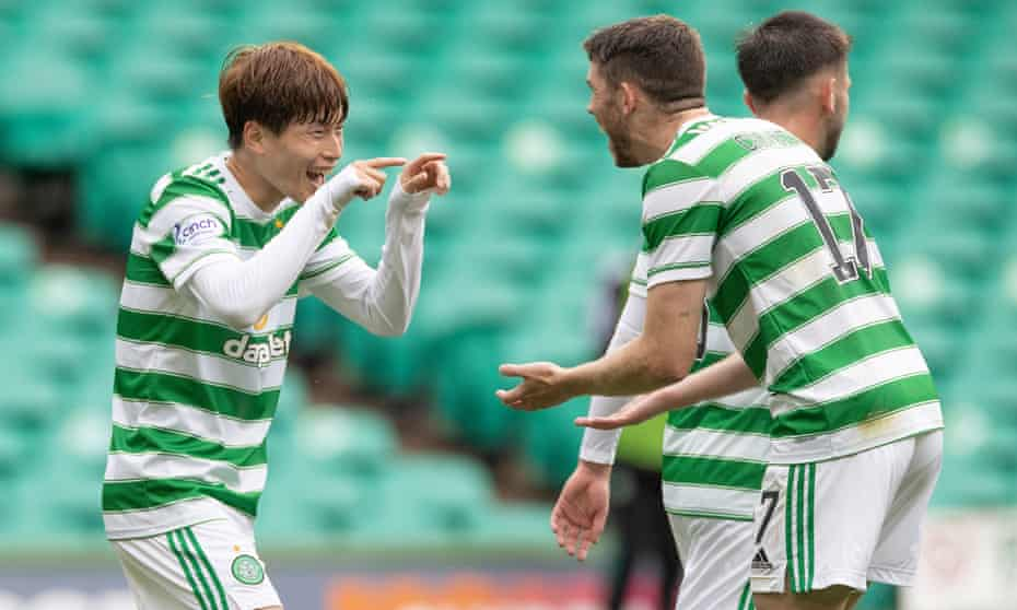 Celtic's Kyogo Furuhashi celebrates the second goal of his hat-trick with Ryan Christie