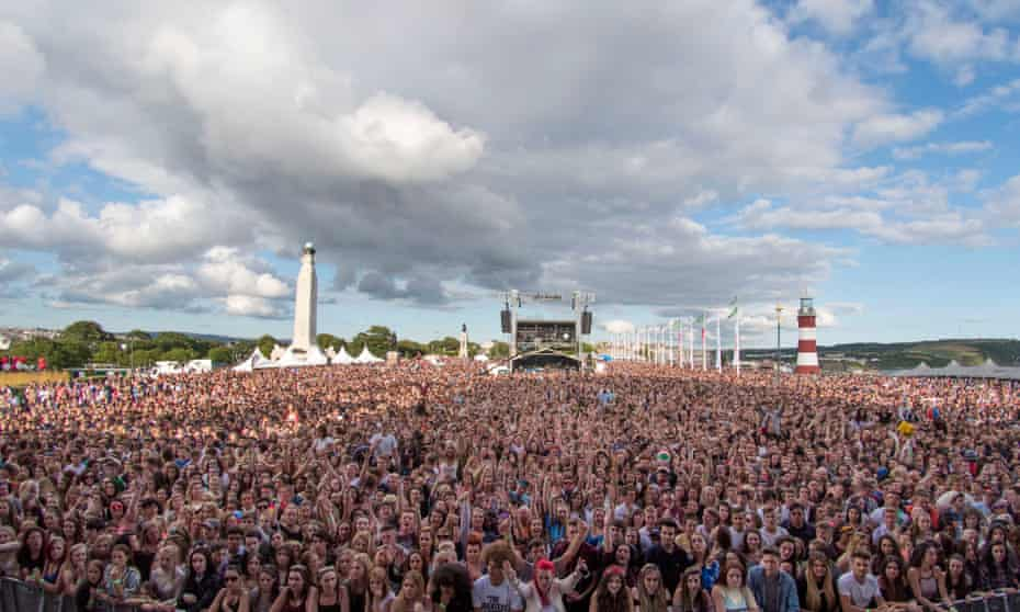 The crowd during the MTV Crashes concert at Plymouth Hoe last July.