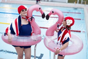The Lido Ladies, Jessica Walker (left, with Colin the Pelican) and Nicola Foster (with Colin). The outdoor lido at Hillingdon