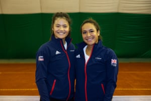 Raducanu and Heather Watson of the Great Britain Fed Cup team pose for a photo at the Queen's Club in January 2020