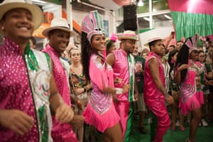 Samba dancers perform at the Mangueira samba school rehearsal